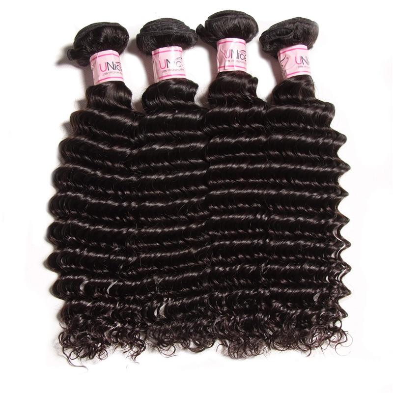 UNice 4 pcs/Pack 8A Grade Remy Hair 100% Human Deep Wave Bundles