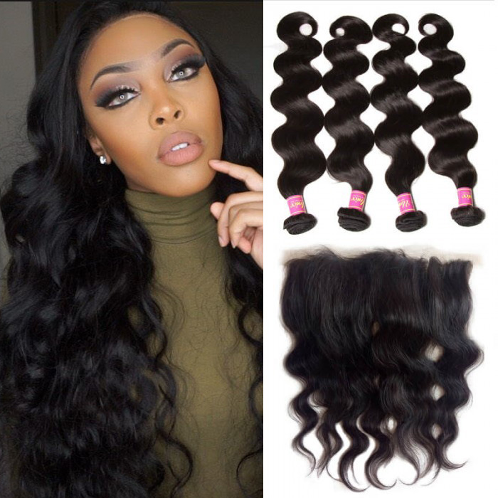 UNice Unprocessed Frontal Lace Closure With 4pcs Body Wave Virgin Hair Bundles