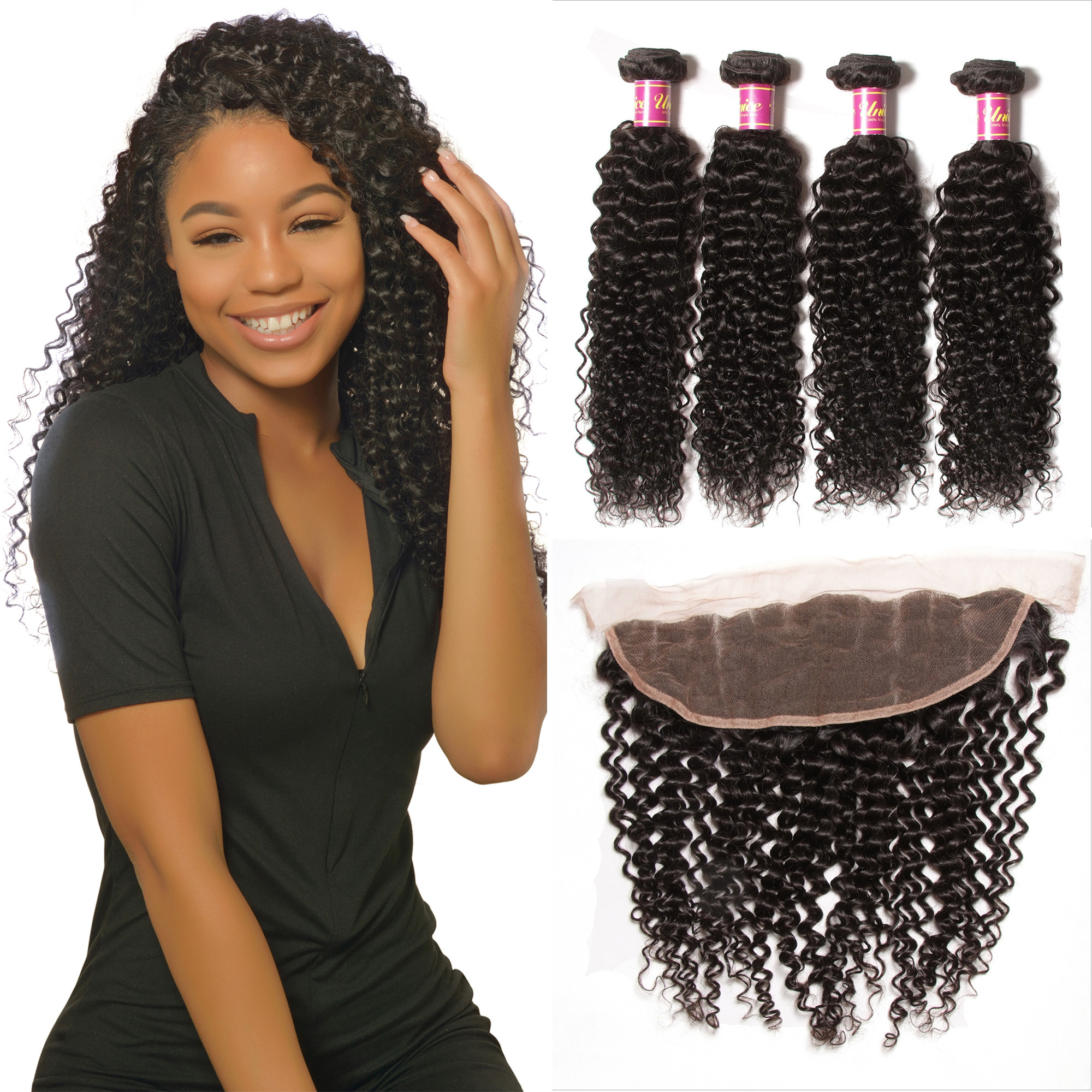 UNice 4pcs Human Curly Hair With Frontal Hair Lace Closure