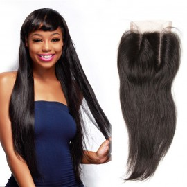 UNice Lace Closure With Indian Straight Hair 3 Bundles