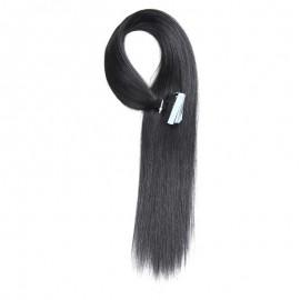 UNice 20pcs 50g Straight Tape In Hair Extensions #1 Jet Black 100% Virgin Hair