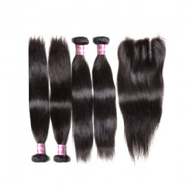 brazilian straight hair with lace closure
