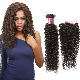 curly hair bundles with lace closure