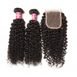 malaysian jerry curly with lace closure